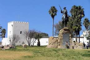 The German fort Alte Feste and the Reiterdenkmal, Windhoek, Namibia. Author and Copyright Marco Ramerini
