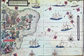 Map of Brazil in the Miller Atlas of 1519