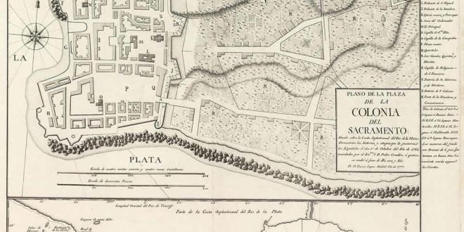 Map of Colonia del Sacramento done by Tomás López in 1777