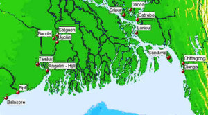 Map of the Portuguese settlements in North Bengal. Author Marco Ramerini