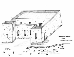 Recostruction of Makupa Fort. Sketch by Hans-Martin Sommer