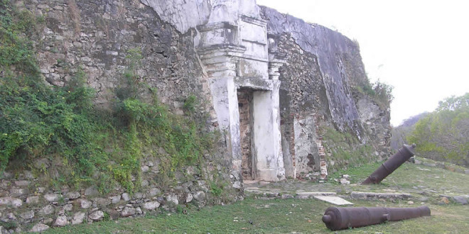 The entrance gate and the front walls of the fort, Fortaleza de Nossa Senhora dos Remédios, Fernando de Noronha, Brazil. Author and Copyright Marco Ramerini