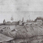 View of Fort Ross, 1828, A. B. Duhaut-Cilly. Fort Ross State Historic Park Photo Archives. No Copyright