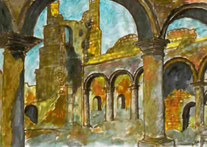 Baçaim, the ruins of the cloister and the tower of the Franciscan Church of Santo António, watercolor by Roberto Ramerini