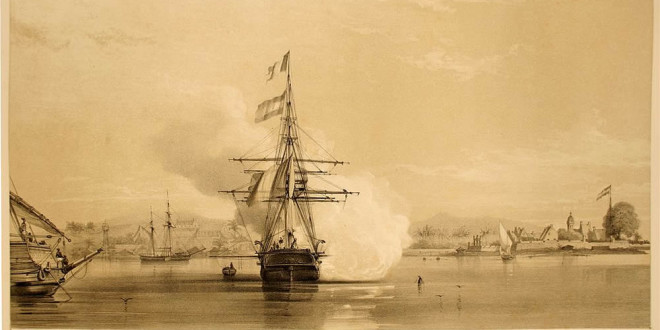 Bay of Makassar (1846), Sulawesi, Indonesia. Atlas pittoresque. Author Louis Le Breton. No Copyright