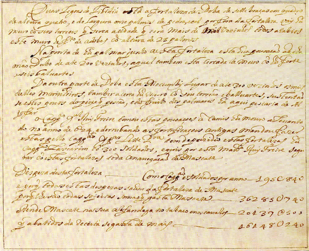 Doba. Text of the document from Prof. Rui Carita Lyvro de Plantaforma das Fortalezas da Índia