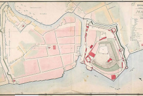 Dutch Map of the city and fort at Malacca (1780), Malaysia. No Copyright