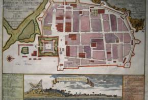 Historic map of danish colony Tranquebar and Fort Dansborg, 1700s. No Copyright