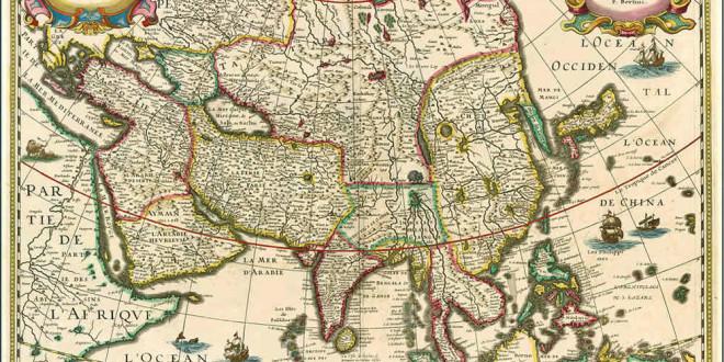 Map of Asia (1627). Authors Bertius; Danckerts; Tavernier. No Copyright