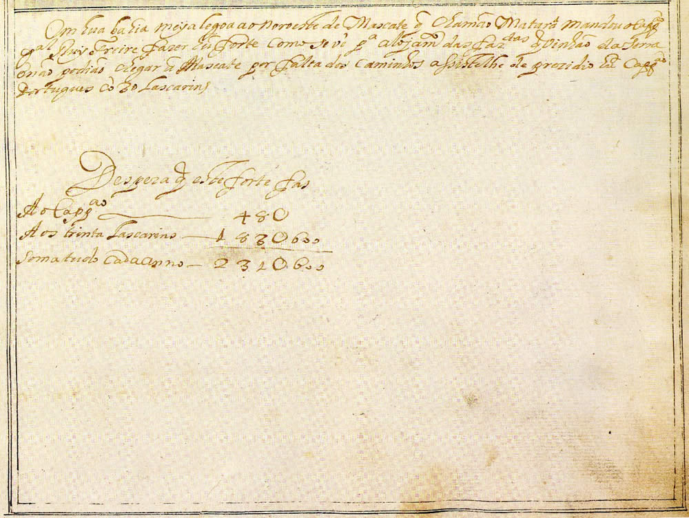 Matara. Text of the document from Prof. Rui Carita Lyvro de Plantaforma das Fortalezas da Índia