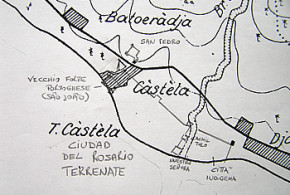 Reconstruction of the probable position of the city of Nuestra Señora del Rosario and of the Fuerza Nueva fort. Author Marco Ramerini