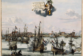 The capture of Cochin and victory of the Dutch VOC over the Portuguese in 1656. Atlas van der Hagen. No Copyright