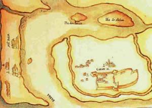 The island of Bombaim (Bombay-Mumbai) and the fortress of Caranja, from the Livro das Plantas das Fortalezas, Cidades e Povoações do Estado da Índia Oriental 1600s