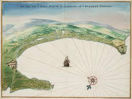 Bird's eye view of the bay and the fort of Nieuw Vlissingen on Tobago. Vingboons Atlas. No Copyright