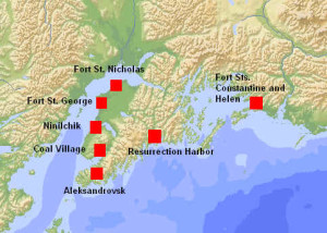 Detailed map of some Russian settlements in Alaska. Author Marco Ramerini