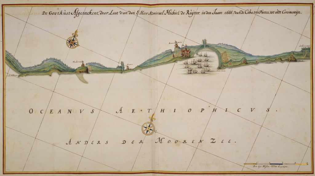 Dutch Gold Coast. Map ordered by Admiral Michiel de Ruyter in 1666