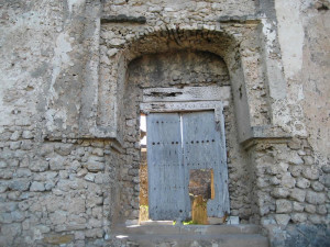 Entrance Gate, Portuguese Fort, Kilwa, Tanzania. Author and Copyright Alan Sutton...