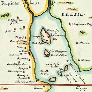 Carte française de la baie de Guanabara (Rio de Janeiro) en 1555, par Duval