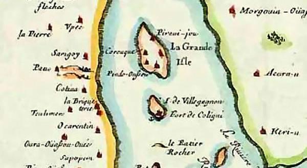 French map of Guanabara Bay (Rio de Janeiro) in 1555, by Duval
