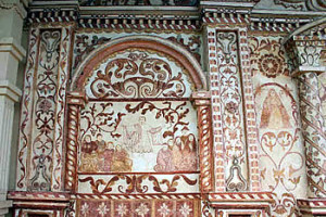 Frescoes, San Rafael de Velasco mission, Bolivia. Photo Copyright by Geoffrey A. P. Groesbeck.