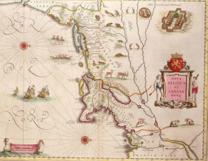 Map of New Netherland and New England (1635). Author Willem Blaeu in Theatrum Orbis Terrarum