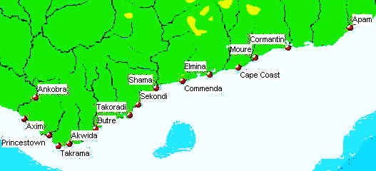 The European Forts In Ghana Colonial Voyage - Portugal map coast