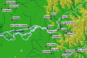 "Map of the Guaranì Jesuitical Missions ""Reducciones"" in Argentina and Paraguay. Author Marco Ramerini"
