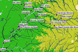 "Map of the Guaranì Jesuitical Missions ""Reducciones"" in Brazil and Argentina. Author Marco Ramerini"