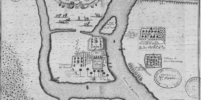 Map of the community at Tranovato (Ilha de Santa Cruz) (1656), Madagascar. Author Flacourt. Bibliothèque Nationale de France
