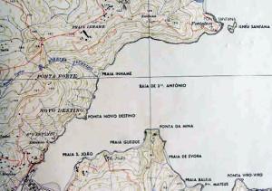 Mappa dell'Isola di Principe: la baia di Santo António e la Fortaleza da Ponta da Mina