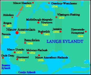 Nieuw Amsterdam, Long Island and environs 1664. Author Marco Ramerini