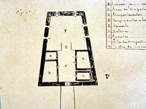 Old map of the Forte de São Pedro do Boldró, Praia do Boldró, Fernando de Noronha. Photo Marco Ramerini