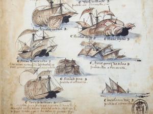 Une partie de la flotte commandée par Pedro Alvares Cabral, le navigateur qui découvrit le Brésil en 1500.