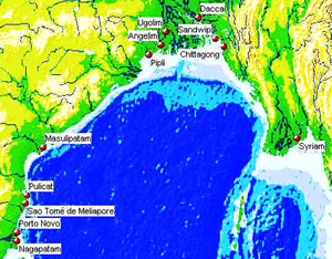 Portuguese settlements in the bay of Bengal. Author Marco Ramerini