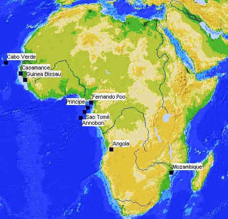 Comunidades de língua portuguesa na África hoje. Herança da língua Portuguesa em África. Autor Marco Ramerini