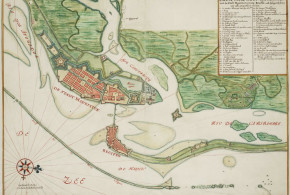 Watercolour chart of the city of Recife (Brazil) in the 17th century (1665). Author Johannes Vingboons