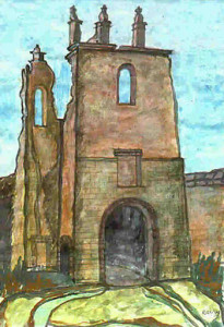 Bassein (Vasai), church's ruins, watercolor by Roberto Ramerini