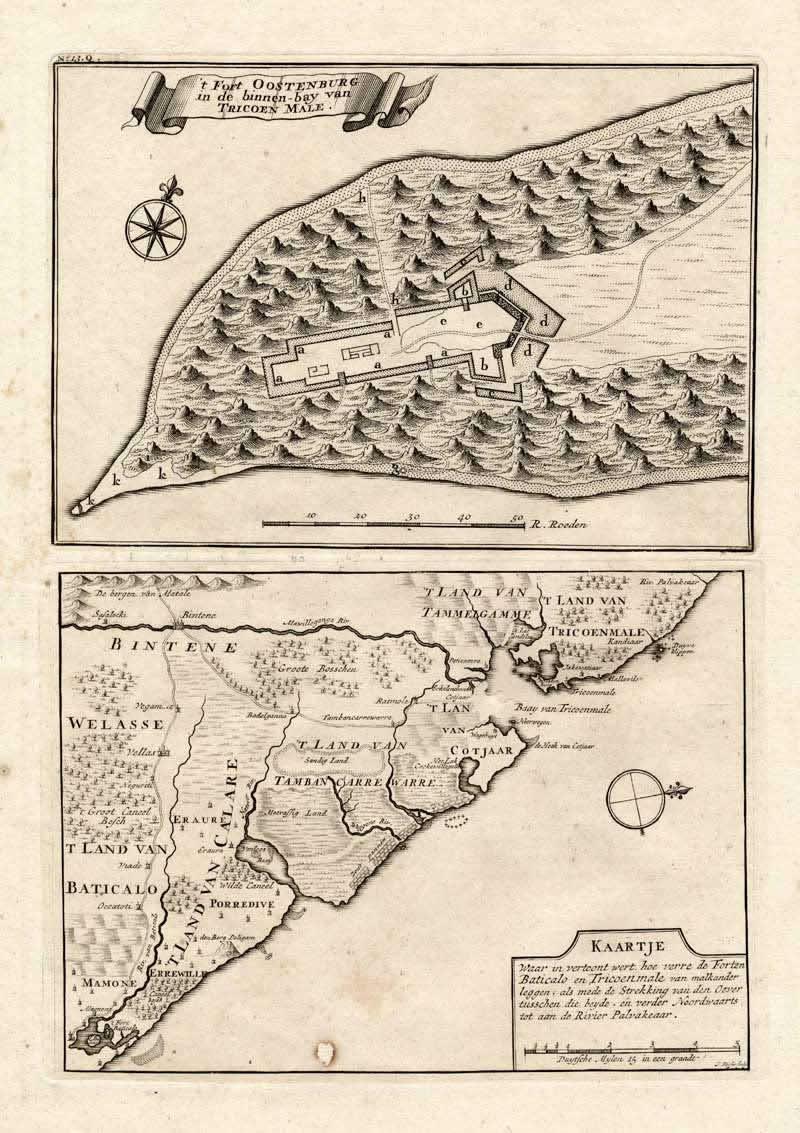 Fort Oostenburg (1726), Trincomalee, Sri Lanka. Autor Valentijn 1726c