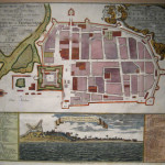 Historic map of danish colony Tranquebar and Fort Dansborg, 1700s. No Copyright