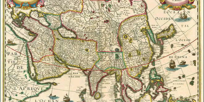 Map of Asia (1627). Authors Bertius; Danckerts; Tavernier. No Copyright