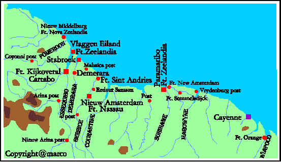 Map of Dutch settlements in Guyana and Suriname 1600-1750. Author Marco Ramerini
