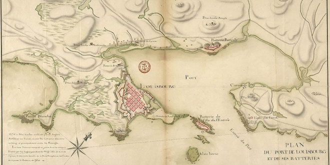 Map of Louisbourg and its artillery batteries in 1751. Canada