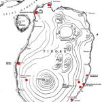 Mappa di Tidore che mostra i probabili siti dei forti spagnoli. Author Marco Ramerini