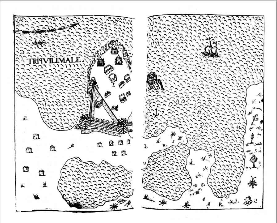 Carte de Trincomalee par Antonio Bocarro (1635). Livro das Plantas de todas as fortalezas, cidades e povoaçoens do Estado da Índia Oriental (1635)