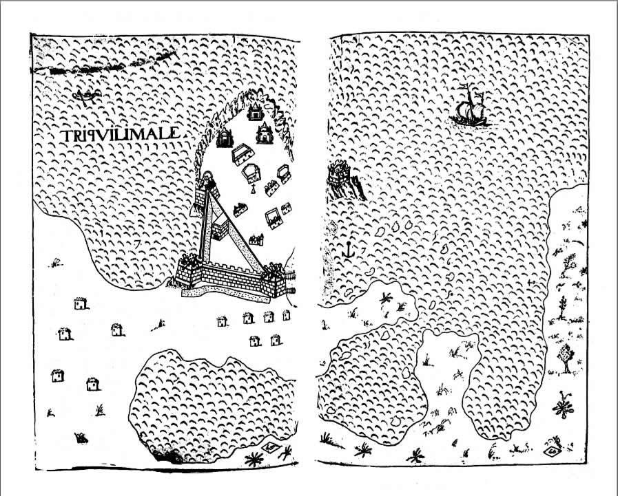 Mappa di Trincomalee di Antonio Bocarro (1635). Livro das Plantas de todas as fortalezas, cidades e povoaçoens do Estado da Índia Oriental (1635)