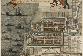 Map of the Castle and the City of Batavia, on the island of Java (now Jakarta, Indonesia) 1681. Author Jan Janssonius