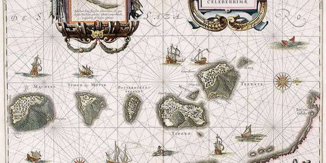 Moluccas (1630), Indonesia. Author Willem Janszoon Blaeu. No Copyright