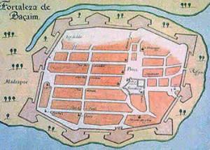 Velha mapa de Baçaim (Vasai)