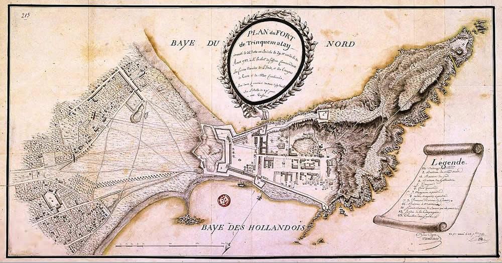 Plano de Fort Trincomalee, feita pelo Chevalier de Suffren em agosto 1782