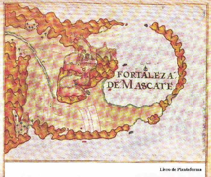 Portuguese fort of Mascate from Prof. Rui Carita Lyvro de Plantaforma das Fortalezas da Índia